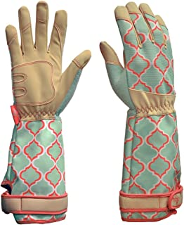 DIGZ Rose Pruning Vegan Leather Garden Gloves, Long Forearm Protective Cuff with Touchscreen Compatible Finger Tips