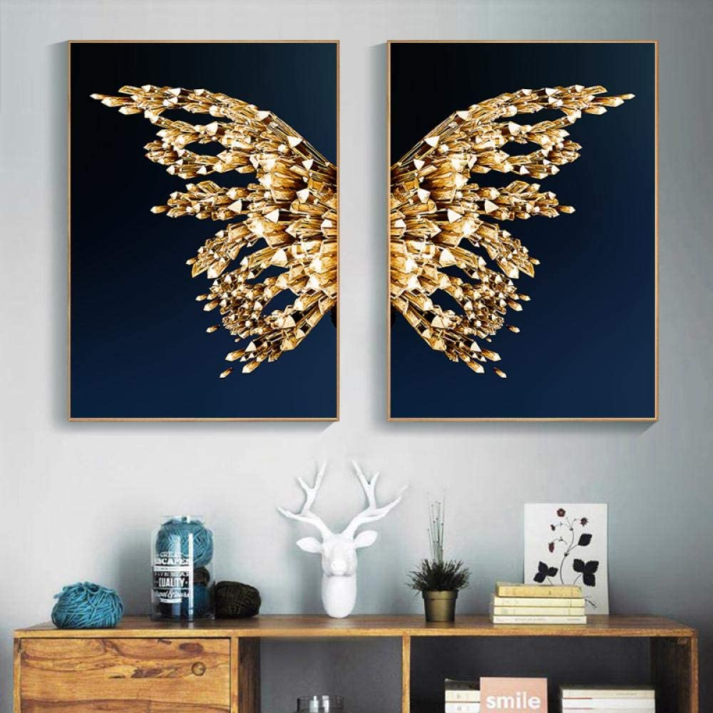Canvas Art Painting Nordic 新作 人気 Golden Abstrac 5☆好評 Wing Picture Butterfly