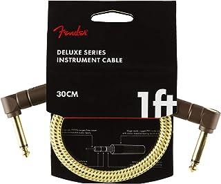 Fender Deluxe Series - Cable con conectores tweed (0,3 m, 2 conectores angulares)