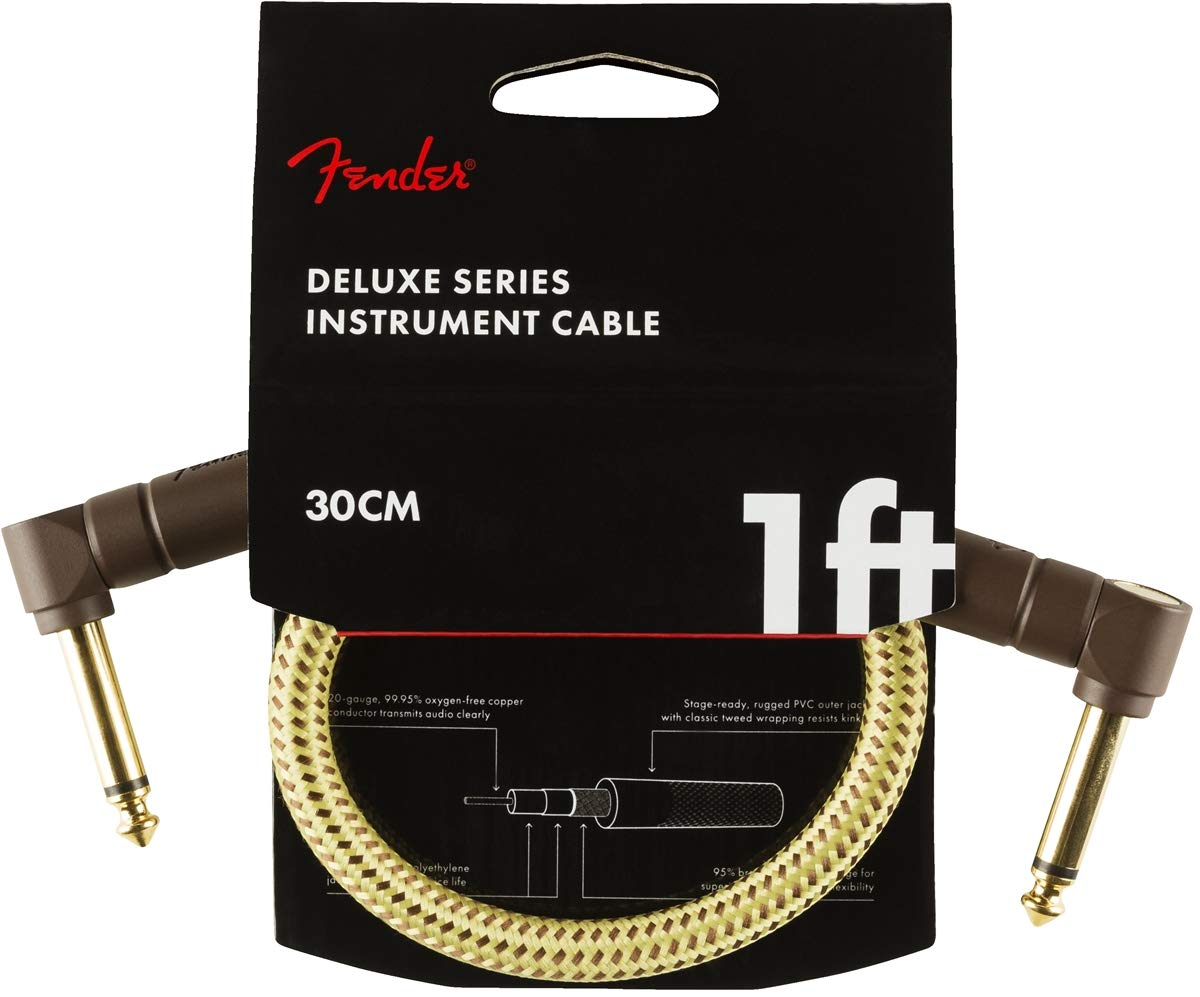 2-Pack Fender Deluxe Series 1 ft Tweed Right-Angle Pedal Patch Cable Cord 1//4/""