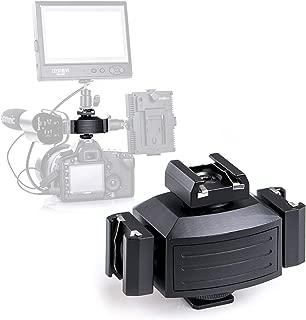 Pro Triple Shoe Mounts for Camera, Micnova MQ-THA Aluminium Alloy Adapter for Lights, LED Monitors, Microphones, Audio Recorder & Studio Flash Bracket Video Camera (Balck)