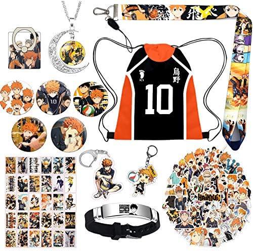 Haikyuu Anime Gift Set for Teens Haikyuu Drawstring Bag Backpack Haikyuu Theme Necklace Stickers product image