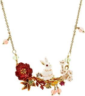 Ladies Exquisite Cloisonné Handmade Enamel Bunny Necklace for Women, Vintage Real Gold, Multi Stones