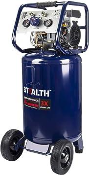 Stealth 20 Gallon Ultra Quiet Air Compressor,1.8 HP Oil-Free Peak 150 PSI 68 Decibel Air Compressor, 6CFM @ 40 PSI 5 CFM @ 90 PSI Long Life Electric Air Compressor W/Wheel for Garage, Jobsite: image