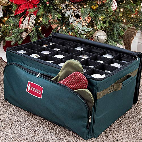 TreeKeeper (Green Christmas Ornament Storage Box with Dividers) - Deluxe Ornament Keeper - Holds 72 Ornaments up to 4 Inches in Diameter | 3 Removable Trays with Separators | Acid-Free Fabric Lining