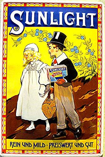 Tin Sign Blechschild 20x30 cm 3 D geprägt Art Deko SUNLICHT Waschmittel Werbung Reklame Plakat Bar Kneipe Metall Schild