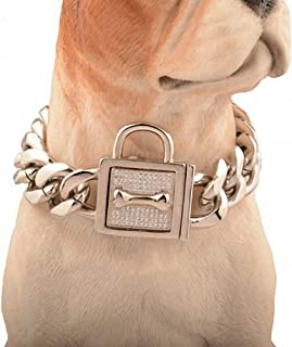 Lakke 19mm Golden Lock Stainless Steel Pet Dog Collar Metal Durable Puppy Dog Cat Gold Silver Collar