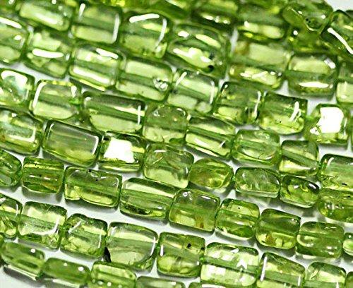 Lote de 5 hilos de peridoto verde natural suave rectangular con piedras preciosas de chiclet, 14 pulgadas, 4 mm, 5