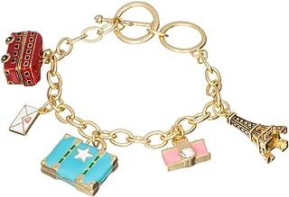 Jewelry Nexus Europe Trip Travel Gold-Tone Charm Bracelet Eiffel Tower London Bus Suitcase Camera Letter