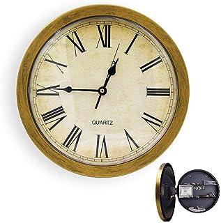 Rubik Wall Clock Hidden Safe, 10 Inch Round Quartz Clock, Retro/Vintage Quiet Clock With Secret Compartment Stash Shelf, S...