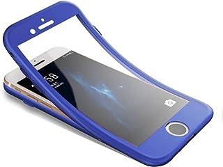 Surakey Funda para iPhone 7 /iPhone 8 Funda de 360 Grados con Vidrio A Prueba de Balas Funda de Silicona Suave Completo Caja Protectora de Frente Y Espalda para iPhone 7 /iPhone 8Azul Oscuro