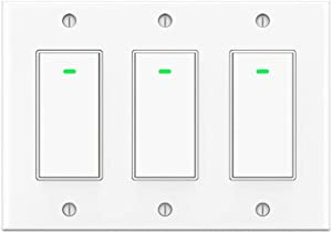 3 Gang Smart WIFI Light Switch (Not 3 Way Switch) Work with Alexa Google Assistant and IFTTT