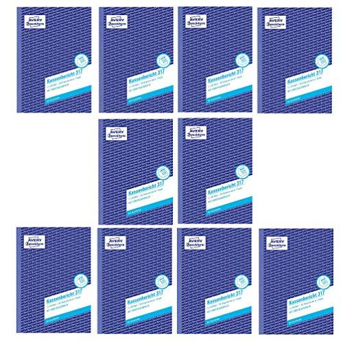 AVERY Zweckform 317 Kassenbericht weiß/gelb (10 Stück, Kassenbericht A5)