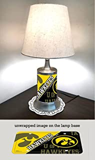 Table Lamp with shade, Iowa Hawkeyes plate rolled in on the lamp base