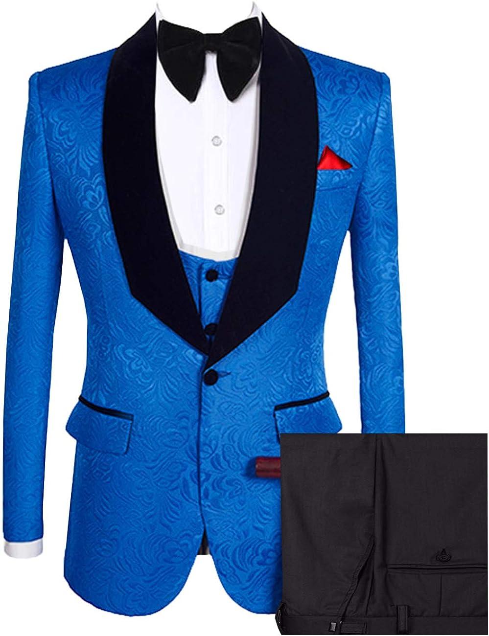 Wemaliyzd Men's Vintage 3 Pieces Wedding Suit Jacquard Vest Pants