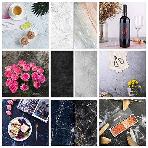Meking 3pcs Double Sided Photography Background Paper, 22x34in Cement & Marble Texture Food Photography Backdrops for Small Product Tabletop Photo Video Shooting Props