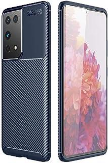 Dalchen for OPPO Reno 4 SE Carbon Fiber Ultra Slim Case, Silicone Soft TPU Minimalist Shockproof Protective Cover in Blue,...