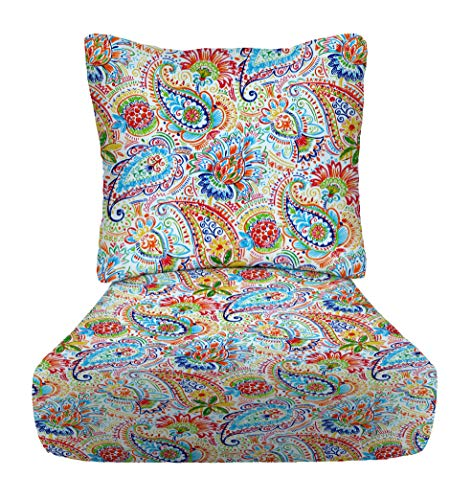 """RSH Décor Indoor Outdoor Deep Seating Cushion Set, 25""""x 25"""" x 5"""" Seat and 25"""" x 21"""" Back, Choose Color (Thin Line Paisley)"""