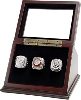 Wooden Display case Shadow Box for Sports Championship Rings from 1 Slot to 7 Slots with Glass Window - Rings are Not Included