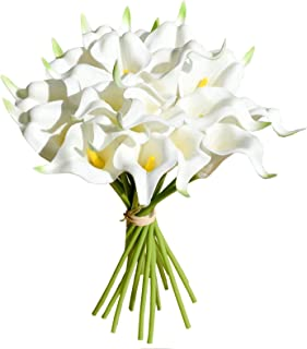"Mandy's 20pcs Milk White Artificial Calla Lily Flowers 13.4"" for Home Kitchen & Wedding Decorations"