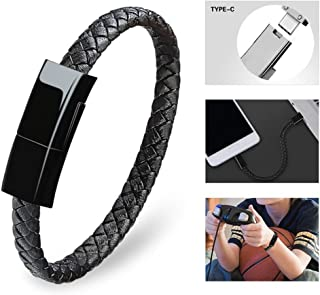 Dzzkoye USB Type C Cable Bracelet for Men Samsung S8 Short Portable Leather Charger (L)