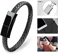 Dzzkoye USB Type C Cable Bracelet for Men Samsung S8 Short Portable Leather Charger (Black L)