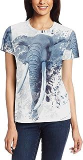 T-shirt voor vrouwen meisjes olifant dier aangepaste korte mouw
