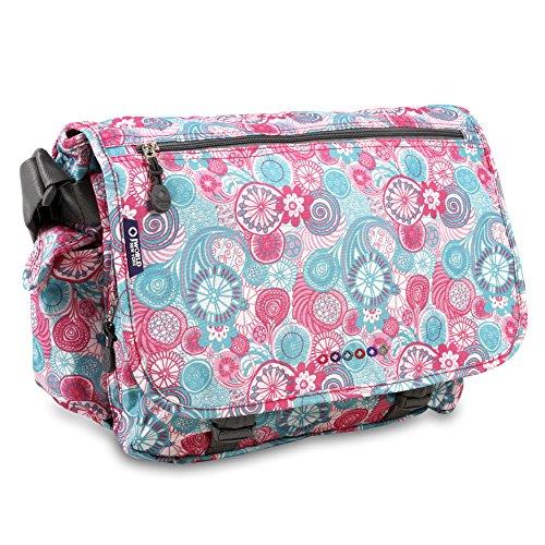 J World New York Terry Small Messenger Bag for Women. Girls Satchel, Blue Raspberry, One Size