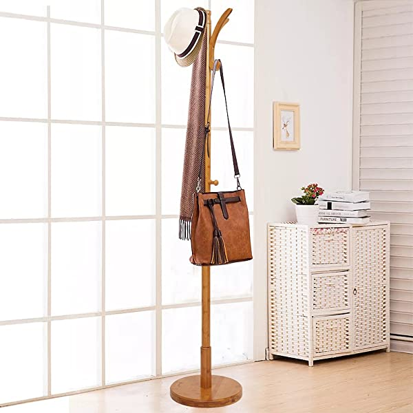 Dporticus 67 Bamboo Coat Rack With 11 Hooks Round Base Free Standing Jacket Coat Tree Stand For Bedroom Living Room Or Office Natural Finish
