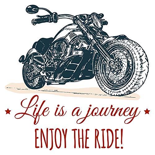 Wandtattoo USA Wandsticker Imposantes Motorrad mit Schriftzügen Amerika Wandtat