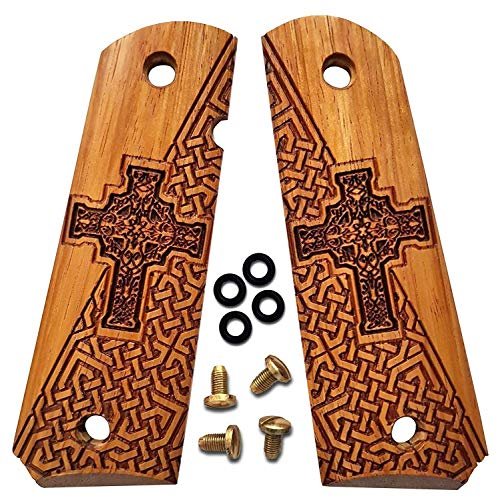1911 Grips Full Size by Dan Eagle Celtic Cross Design Exotic Solid Rosewood Fits Government, Commander