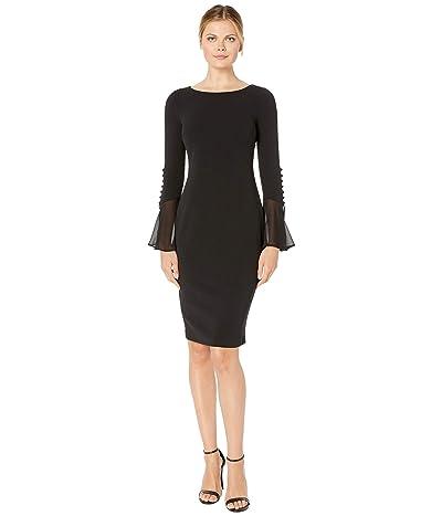 Calvin Klein Long Sleeve Sheath Dress with Chiffon Button Detail Cuff (Black) Women