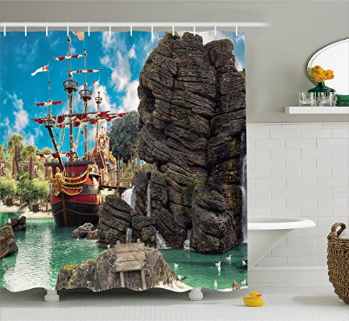 """Ambesonne Pirate Shower Curtain, Big Ship on Tropical Caribbean Seashore Pirate Island Large Rock Formation, Cloth Fabric Bathroom Decor Set with Hooks, 75"""" Long, Sea Green"""