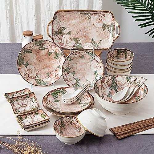 Karid De vajilla de Cocina, Platos y Cuencos Resistentes a Las roturas | Vajilla de cerámica con Estampado Floral de Estilo Retro para reuniones Familiares y Regalos