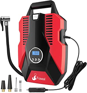 Foseal 1 Red Portable Air Compressor Pump, Digital 12V Tire Inflator 150 PSI Auto Shutoff Easy to Use,Overheat Protection,...
