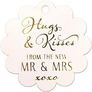 Summer-Ray 50pcs Gold Foil Hot Stamping Scallop Hugs & Kisses from The New Mr & Mrs Wedding Favor Gift Tags (Shimmered White)