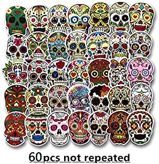 Sugar Skull Stickers Pack (60pcs) Laptop Skull Decals Dia de Los Muertos Mexican Day of The Dead Sticker Bomb Water Bottle Luggage Bike Computer Skateboard Vinyl Decal Pack