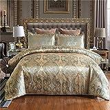 Silky lettiera del raso di Super Soft Cover Set di stile barocco europeo letto di Jacquard Duvet,Cachi,200x230cm