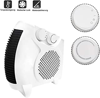Froadp Calefactor Portátil Ventilador Móvil con 2 Niveles de Calor y frío Mini Calentadores Utilizables Horizontal y Vertical Rápido para el Hogar Dormitorio Oficina(Tipo A, Blanco)