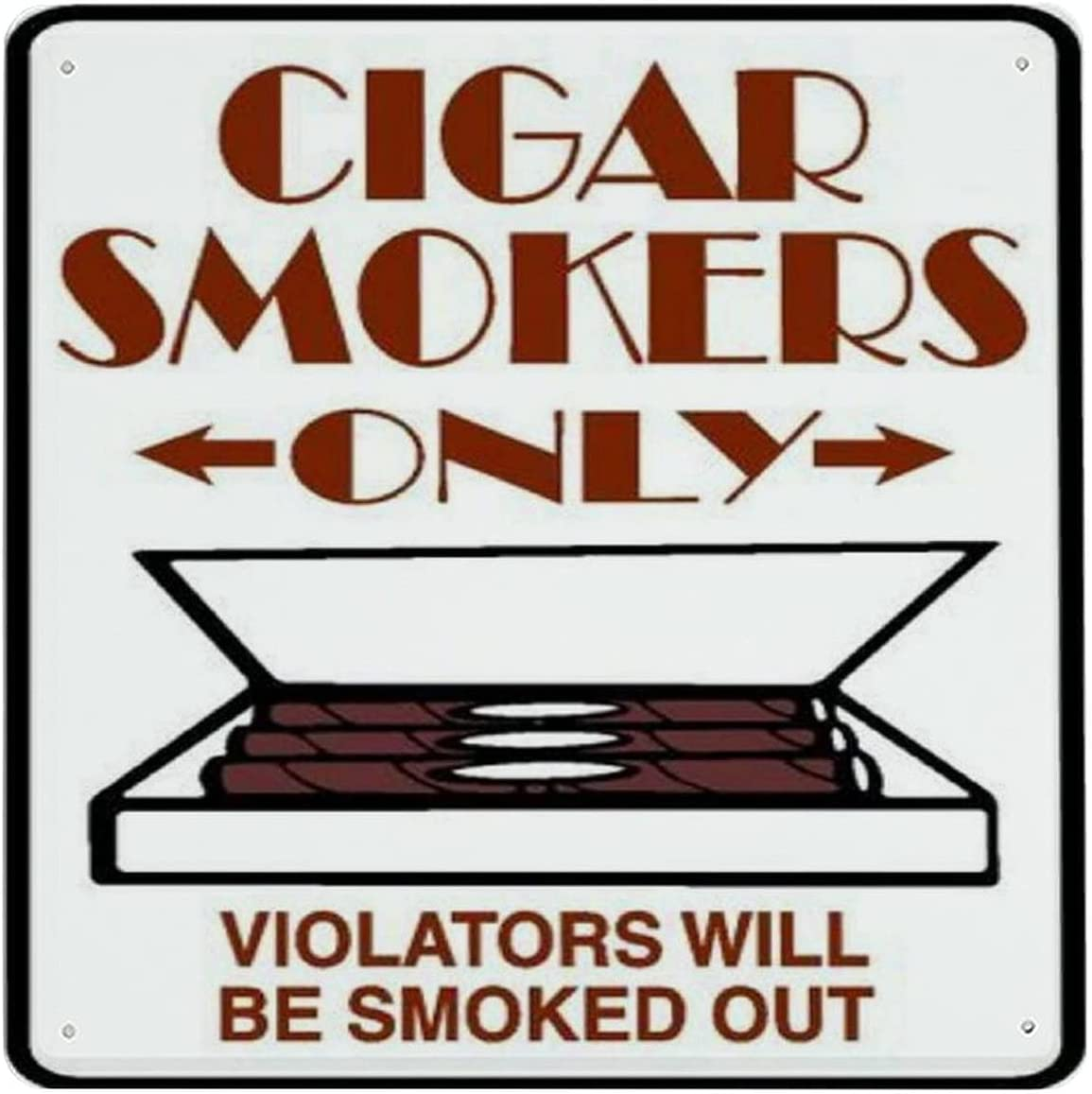 Outlet sale feature Metal NEW before selling ☆ Sign Cigar Smoking Only Weatherproof Horizo Retro Aluminum
