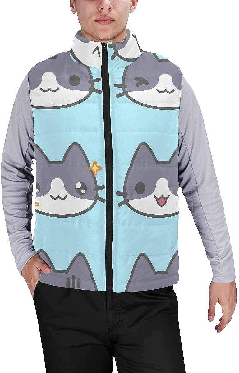 InterestPrint Men's Outdoor Casual Stand Collar Sleeveless Jacket Cartoon Cat Kitten Lovely