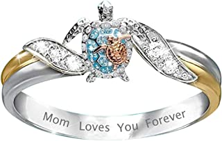 Fashion Zircon Diamond Ring for Mom, Cnebo Personalized Letter Mom Loves You Forever Jewelry Gift for Mother's Day,Wedding Accessories