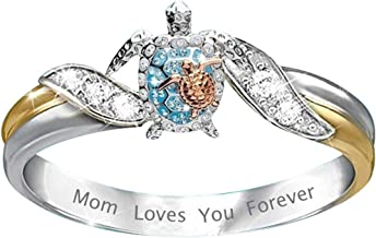 Turtle Statement Ring Mom Loves You Forever, Diamond Microinlaid Zircon Female Ring Jewelry, Health and Longevity Sea Turt...