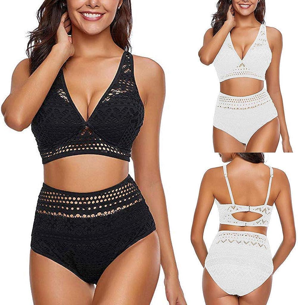 Lroveb Women Sexy Mesh Bikini Set V Neck Push Up Back Hook Bathing Suit High Waisted Tummy Control Swimsuit