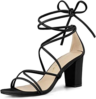 Women's Strappy Straps Lace Up Chunky Heel Sandals