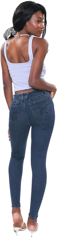 YMI Women's Junior Wannabettabutt Repreve Mid-Rise Skinny Jeans with a Finish Hem