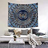 Bxfdc Tapiz Colgante de Pared Escarabajo Egipcio Escarabajo Dorado y Azul Manta de Pared de mármol Arte de Pared para Sala de Estar Dormitorio decoración del hogar 152X130CM