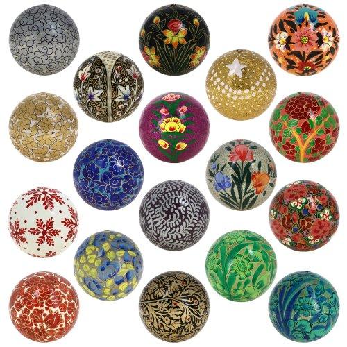 Price comparison product image Shalinindia Set of 18 Paper Mache Ball Christmas Decorative Ornaments Handmade Decoration Gifts Set