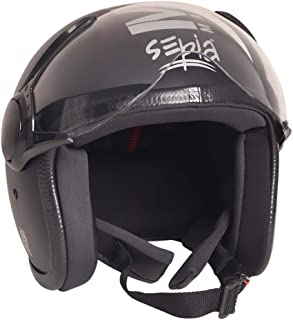 Sepia Muscle Rider Open Face Helmet (Matt Black, M)