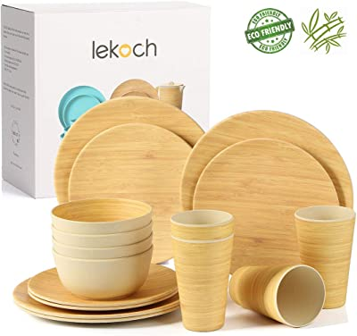 Lekoch 16-Piece Bamboo Dinnerware Set for 4, Eco-friendly Tableware Set Include